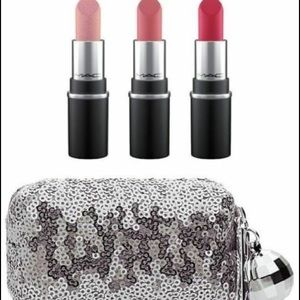 MAC Snowball mini Lipstick Kit 3 lipsticks & bag !